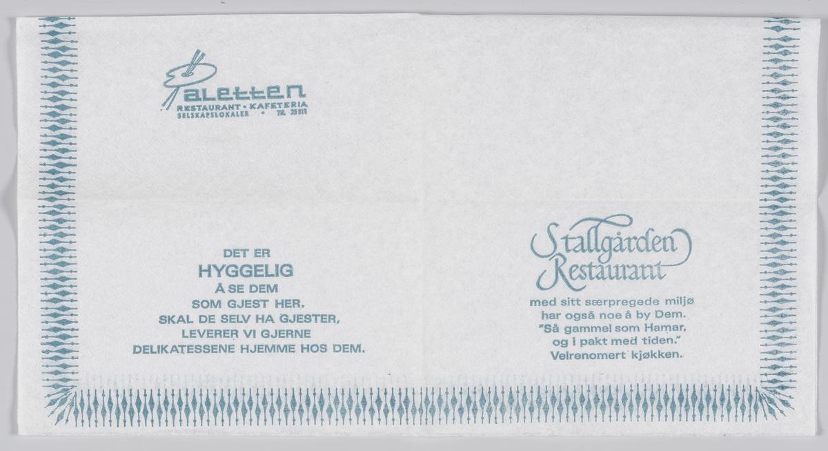 En palett og en reklametekst for Paletten restaurant og kafeteria og Stallgården restaurant på Hamar.