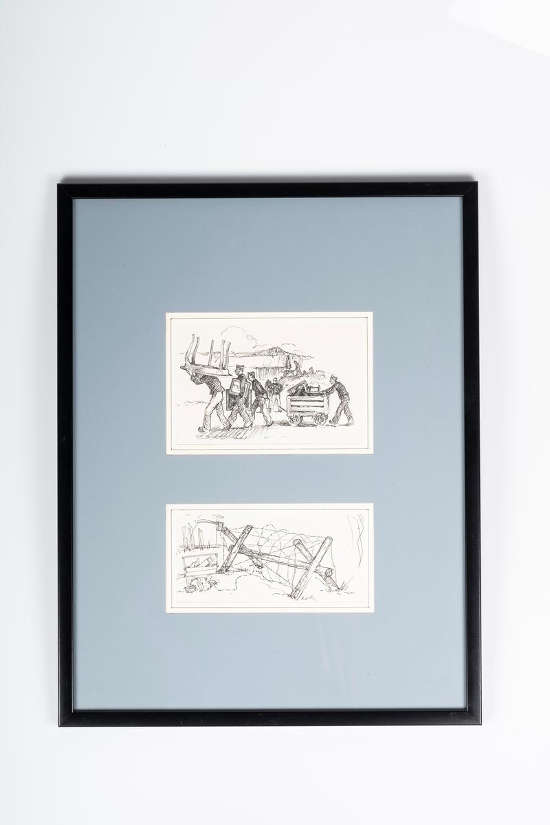 Den ene tegninen viser 4 fanger i forgrunn som bærer og triller på møbler. Det er 5 fanger i bakgrunnen som ser ut til å jobbe med noe graving.  Det andre bildet viser et piggtrådgjerde. Piggtråden er surret rundt trestammer som står i kryss.