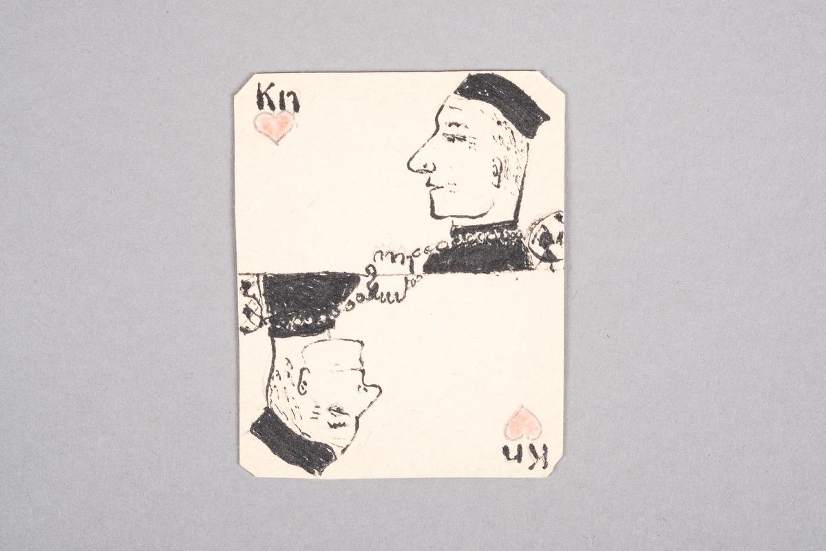 Tegning av en mannlig fange som holder på et redskap bestående av en lenke og en kule. Motivet er speilet.