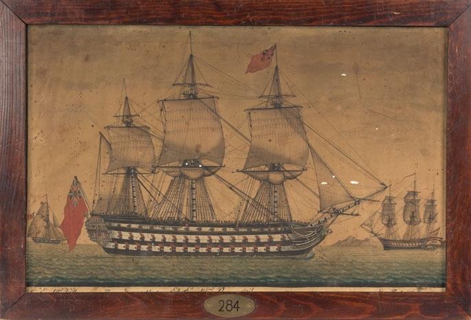 Skipsportrett av britisk rangskip, i bakgrunnen den spanske fullriggeren MAON og en britisk kutter. Rangskipet har 45 kanoner, og rødt flagg med britisk Union Jack i øvre hjørne på fortopp og akterste mast.