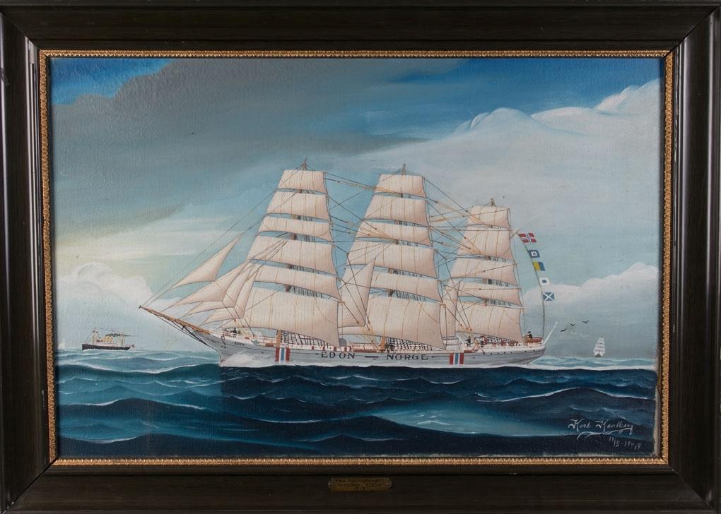 Skipsportrett av fullrigger EDON for fulle seil i åpne sjø. Skipet fører nasjonalietsmerke malt på skutesiden samt et dampskip med tre skorsteiner sees til venstre i maleriet.