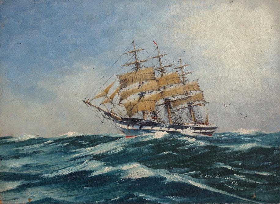 Skipsportrett av ukjent fullrigger med seilføring på åpent hav.