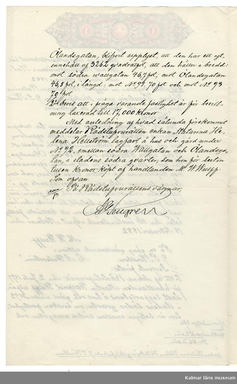 KLM 46339:38. Arkivhandling, dokument. Utdrag ur lagfartsprotokoll. Handskriven text på två av fyra sidor på vitt papper.