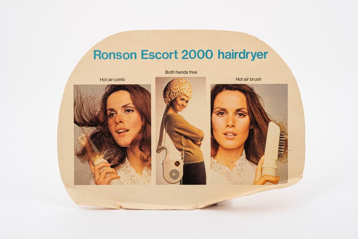 En papplate med bruksanvisning. Den har bilder som viser hvordan hårføneren brukes. Den har vært limt på undersiden av lokket på kofferten.