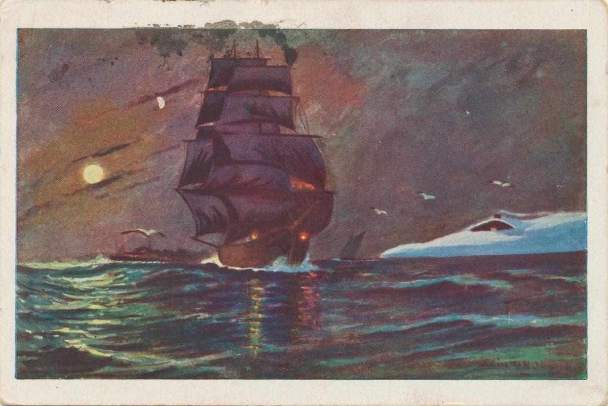 Postkortmotiv av et maleri av ei seilskute som seiler langs snødekt landskap.