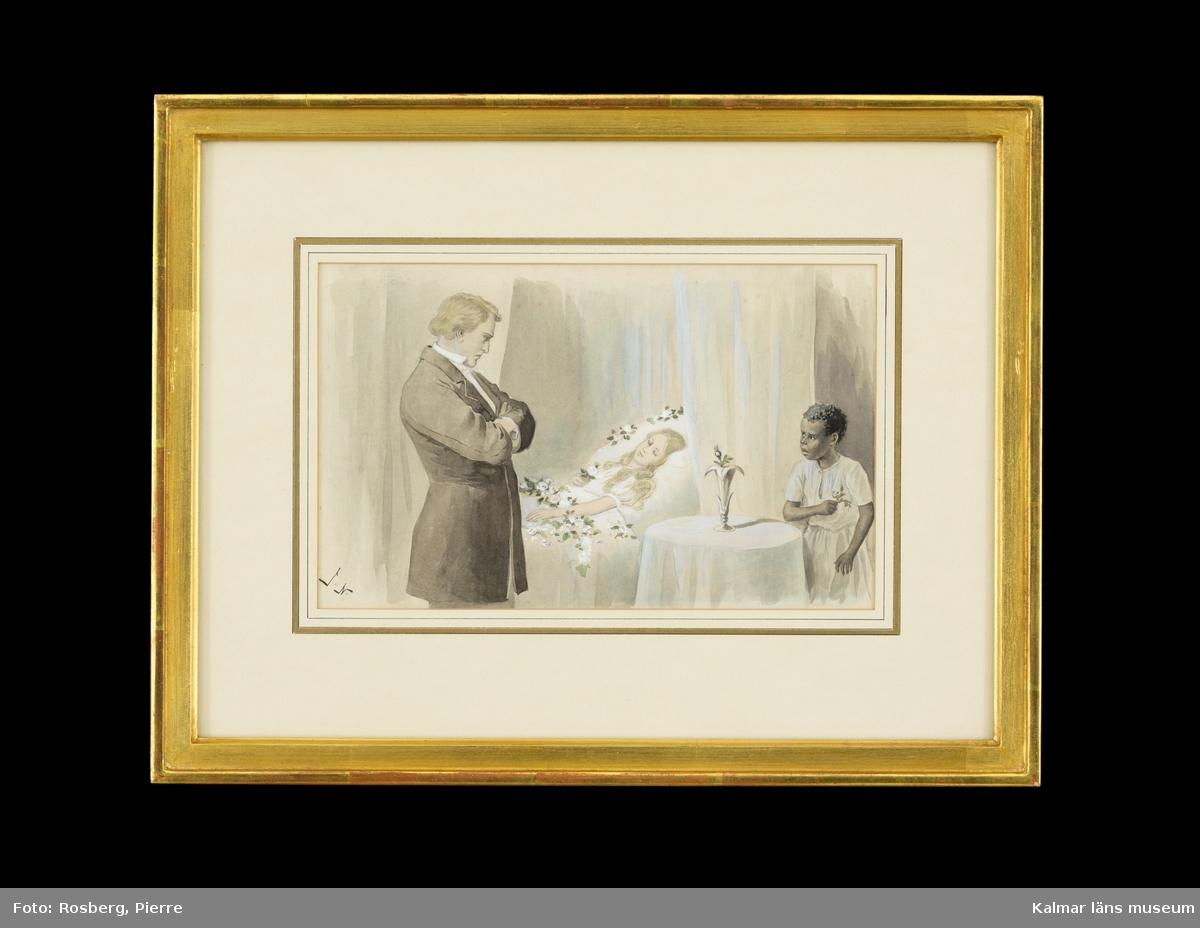 Till vänster går Topsy går in i ett rum för att ge flickan (Eva), som ligger i en säng, terosor. Sängen är full av blommor. Vid sängen till vänster står en man och tittar på (St. Clare?). Han är klädd i vit skjorta och mörk kostym. Han är avbildad i profil med ansiktet åt höger