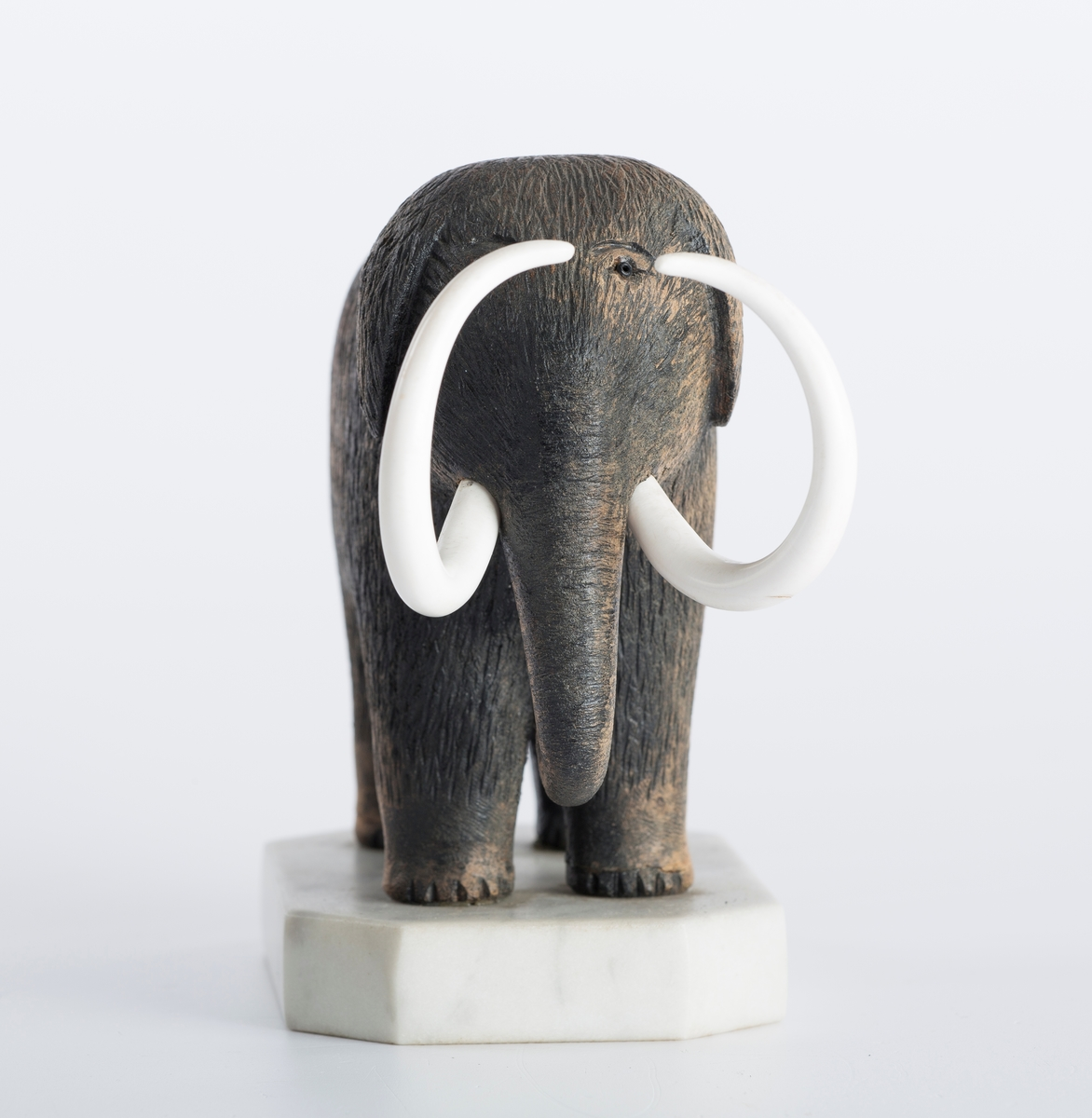 Mammut i sort tre med hvite tenner i benmateriale, base i marmor.
