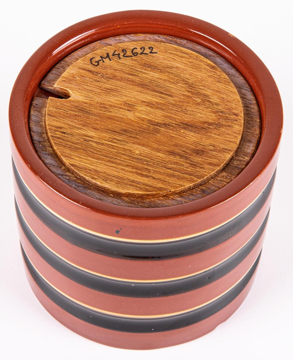 Tobaksburk, tillverkad vid Bobergs Fajansfabrik och formgiven av Eva Jancke-Björk. Djupstämpel BO FAJANS SWEDEN samt artikelnummer 3449 RS. Originallock saknas, troligtvis av keramik.