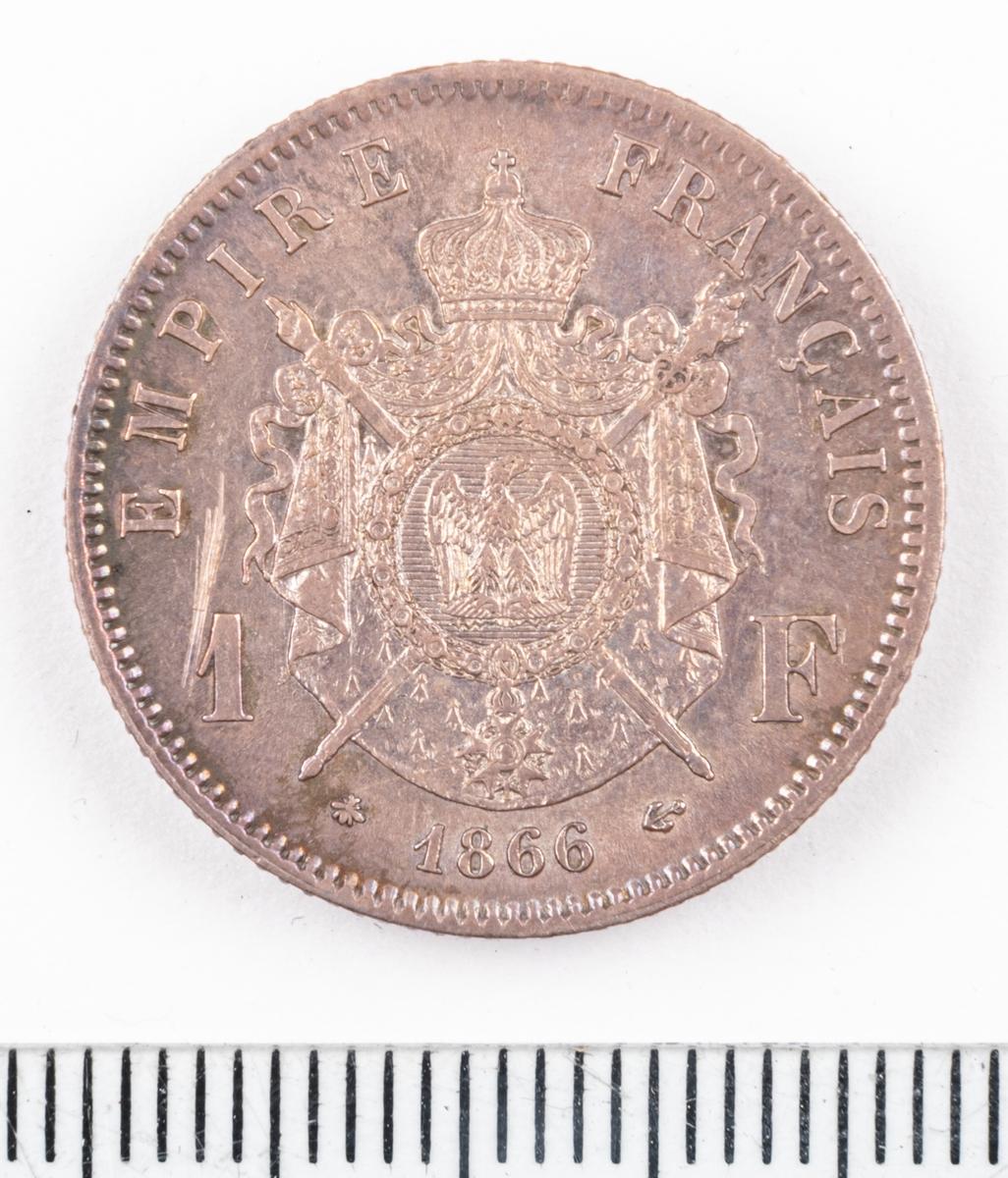 Mynt Frankrike 1866 1 Franc.