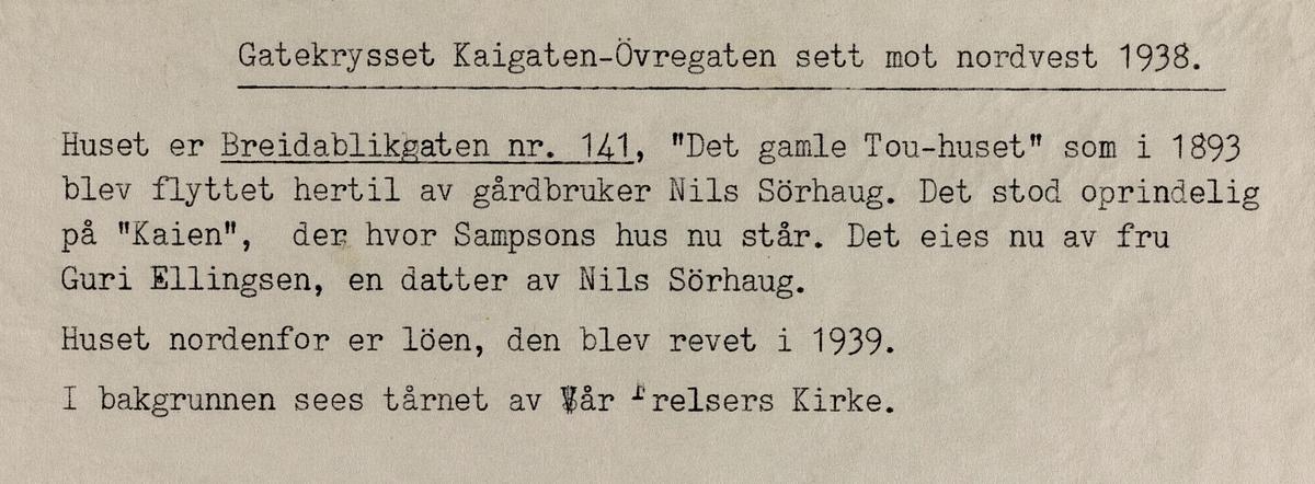 Gatekrysset Kaigata-Øvregata sett mot nordvest, 1938.