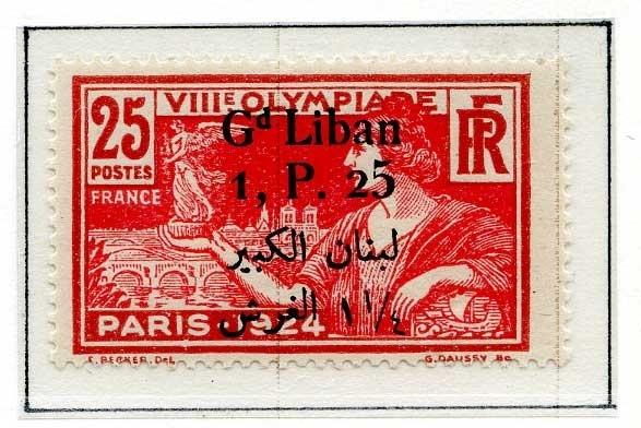 Åtte frimerker fra Sommer-OL i Paris i 1924 montert på en albumside. Det er fire ulike frimerker - to av hvert motiv og farge. Frimerkene er alle stemplet GRAND LIBAN og en annen verdi enn den som er angitt på frimerket.
