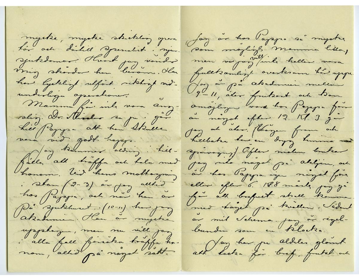 Brev 1901-09-19 från John och Joseph Bauer till Emma, Hjalmar och Ernst Bauer, bestående av sex sidor skrivna på fram- och baksidan av två vikta pappersark. Huvudsaklig skrift handskriven med svart bläck. Handstilen tyder på John Bauer som avsändare.  . BREVAVSKRIFT: . [Sida 1] M.S. den 19 september f.m. Snälla älskade Mamma! Någon operation kommer nog inte i fråga på länge. Hela deras undersökning har hitintills gått ut [inskrivet: på] att [överstruket: under] utröna om högra njuren är sjuk. Är den det kan ju ingen operation komma i fråga. Är den [överstruket: det inskrivet: frisk] kommer nog inte operationen att blifva svårare än den förra. Pappas [inskrivet: r] krafter är nog inte sämre nu än före den förra opera tionen, och dr. Rissler är en . [Sida 2] mycke, mycke skicklig opera tör och därtill spesialist i njur- sjukdomar. Hvart jag vänder mig skördar han beröm. han har lyckligt utfört riktigt vid- underliga operationer. Mamma får inte vara äng- slig. Dr. Rissler sa ju i går till Pappa att han skulle vara vid godt hopp. Jag kommer aldrig i till- fälle att träffa och tala med honom. Vid hans mottagning i stan (2-3) är jag alltid hos Pappa, och när han är på sjukhuset (10-11) har jag Akademien. Han är mycke upptagen, men nu vill jag i alla fall försöka träffa ho- nom, alltid på något sätt. . [Sida 3] Jag är hos Pappa så mycke som möjligt Mamma lilla, men [överstruket: vi] jag [inskrivet: vill] inte heller vara fullkomligt overksam här uppe. Jag är på akademien mellan 9 – 11, äter frukost och kan omöjligen vara hos Pappa förr än något efter 12. Kl. 3 går jag och äter. [överstruket: parentes samt överskrivet: v] Vägen fram och tillbaka tar en dryg timma med spårvagn, [överstruket: parentes] Äfter maten brukar jag rita något på ateljén, och är hos Pappa igen något före eller efter 6. Kl. 8 måste jag gå för att brefvet skall komma med tåget på kvällen. Sådant är mit Schema. Jag är regel- bundin som en klocka. Jag har ju aldeles glömt att tacka för bref, frukt och  .