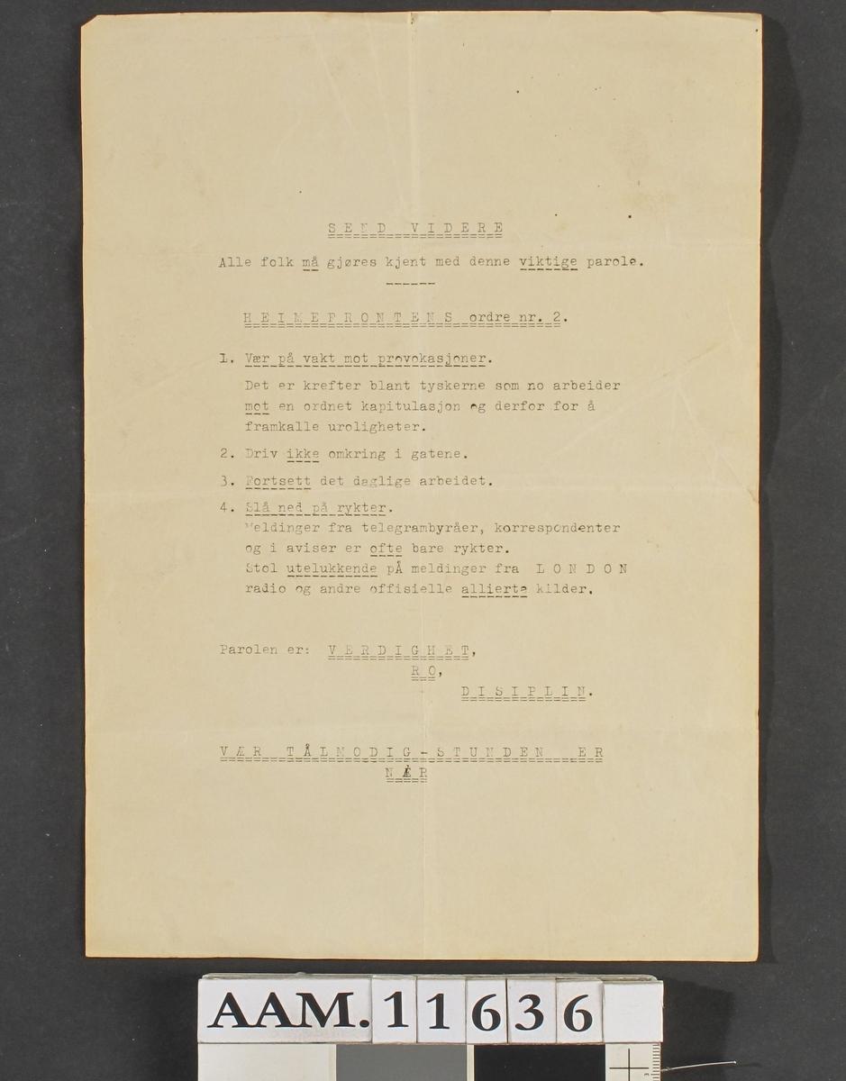 Heimefrontens ordre nr. 2,  løpeseddel. 1944 -45.   Papir med stensilert tekst.