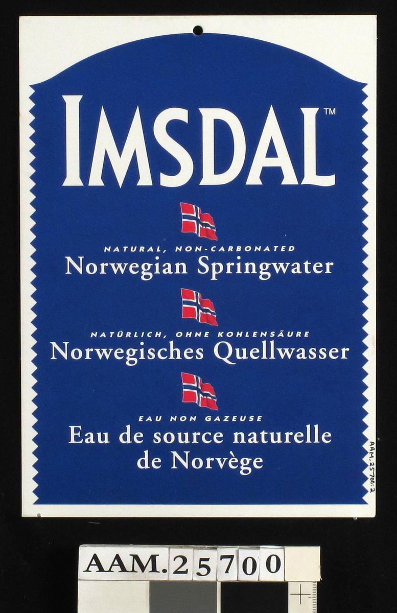 Reklameplakat, vann, Imsdal. Rektangulær, høydeformat, dobbeltsidig.