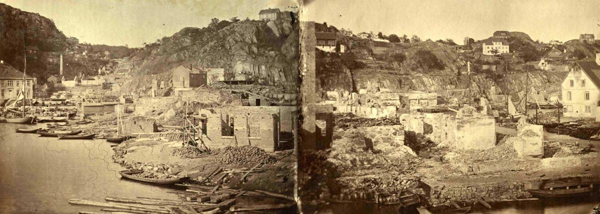Fra John Ditlef Fürst album. Branntomtene etter brannen 1868. AAks 44- 4 - 7 Bilde nr 72 a og b - diptych