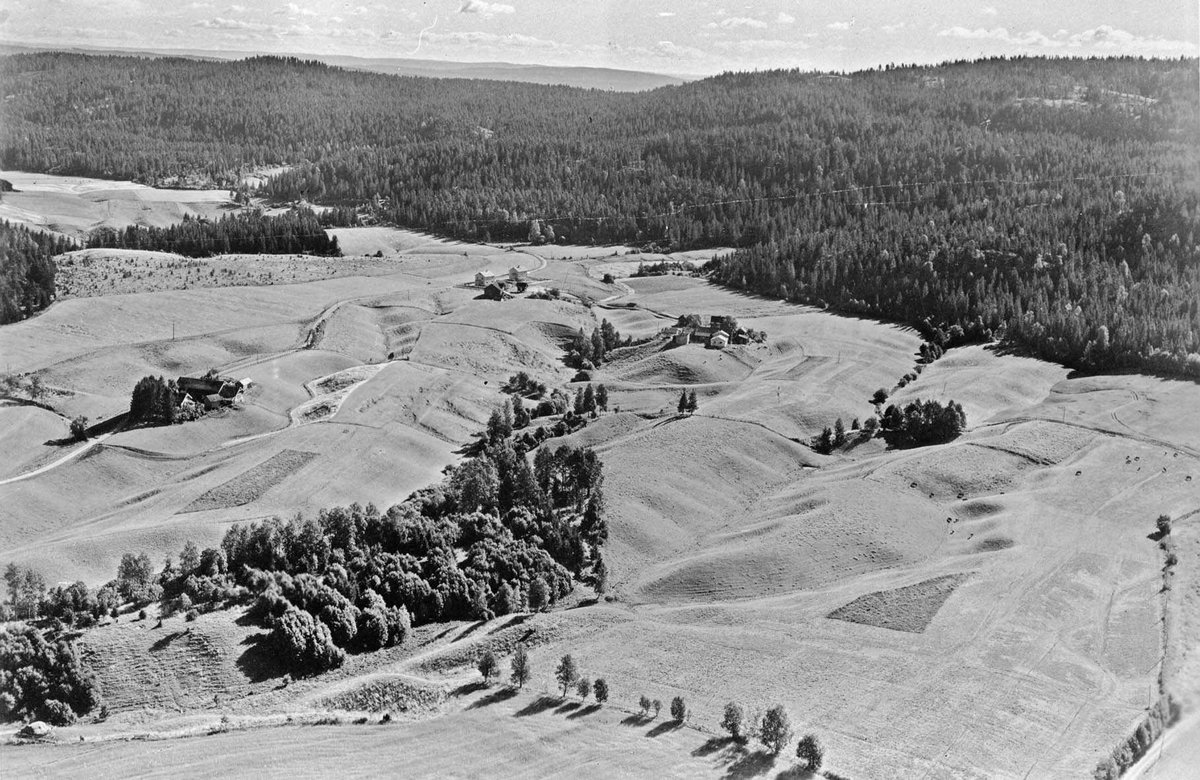 Flyfoto av Hovelsrud vestre(t.v.), Hovelsrudstua og Østbystua
