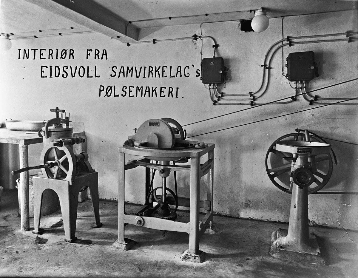 Interiør fra Eidsvoll Samvirkelags pølsemakeri.
