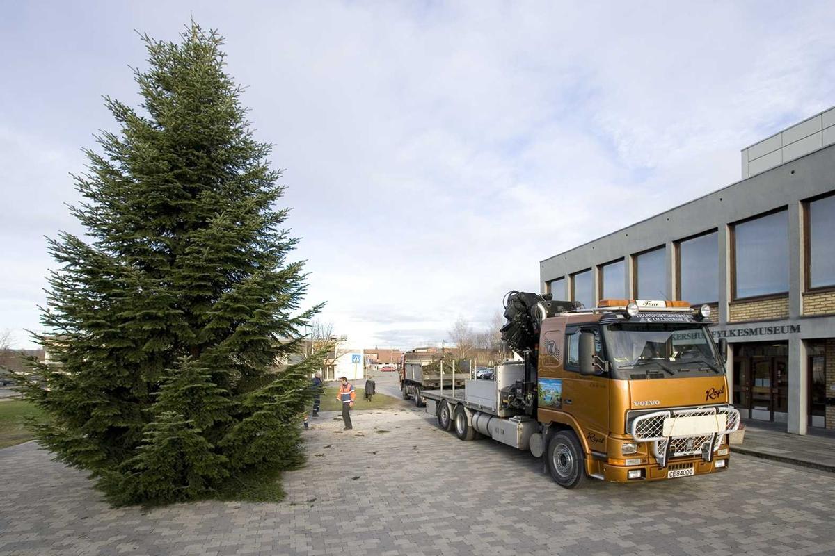 Julebelysning.  Juletreet settes opp utenfor Akershus fylkesmuseum 2005