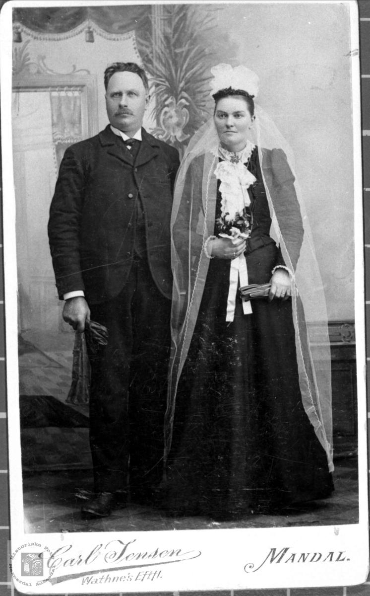 Portrett av Ola d.y. Hesså og Mina Hesså, Bjelland.