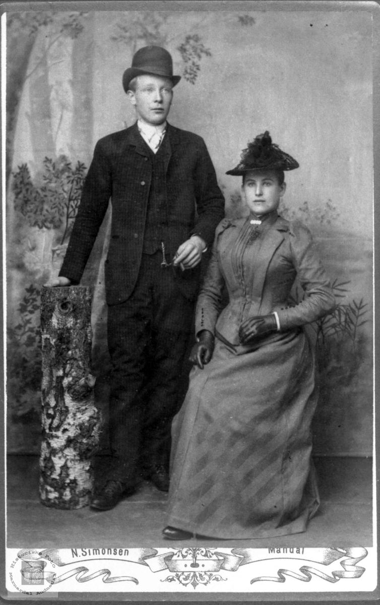 Portrett av ukjent par fra Marnardal eller Audnedal.