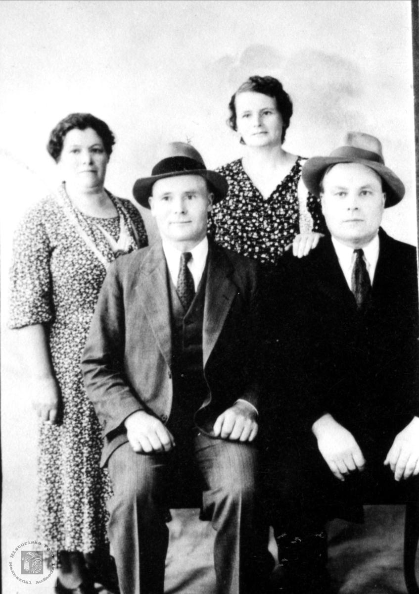 """Portrett av fire søsken fra """"Der heima"""" på Røynesdal i USA."""
