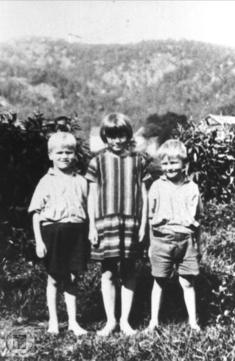 Tre søsken. Kåre, Gerda og Kjell Bruskeland, Laudal.