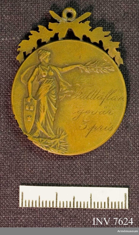 Fälttävlan gevär 3 pris 1909. På framsidan det lilla riksvapnet vilande vid en grangirland.  Text: SVERIGES MILITÄRA IDROTTSFÖRBUND. På frånsidan text: Fälttäflan gevär 3 pris. Medaljen är krönt med två kvistar och med en ring för upphängning.