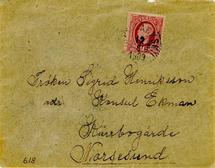 Text på Kuvertet: Fröken Sigrid Henriksson. Konsul Ekman Kärrbogärde Niorsesund.