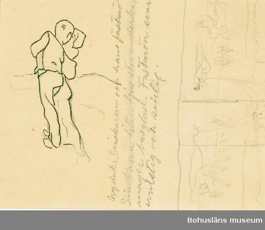 """""""Ny duk. Snickaren och hans fastmö. Snickaren liten ljus, stor underkäk, mager busglad. Fastmön svart svulstig och sinlig."""" antecknat med blyerts. Tillkomstort Stockholm. För uppgifter om konstnären Ragnar Ljungman, se RL001."""