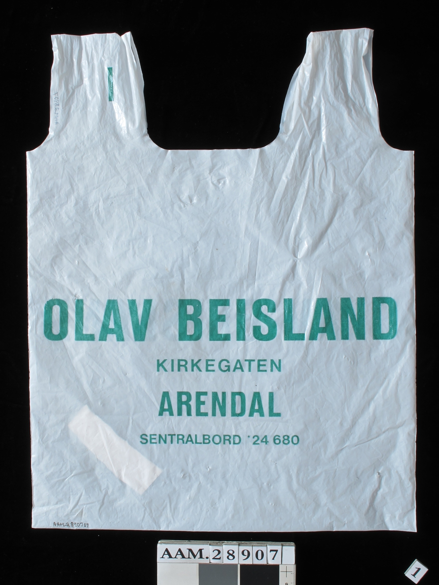 Bærepose for dagligvarer.  Firma Olav Beisland, Arendal.