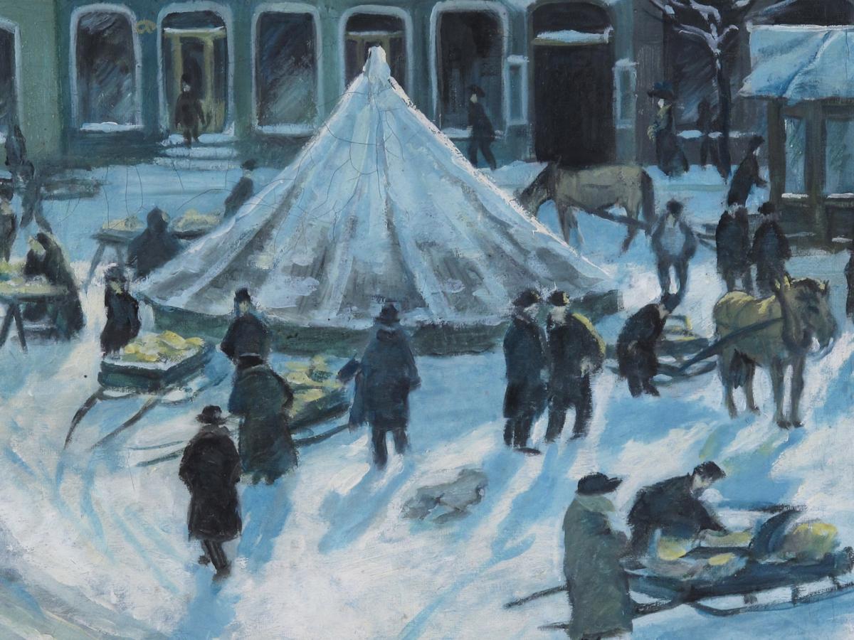 Torvet i Arendal, 1922. Torvet en vinterdag, torvliv med hester, sleder og mennesker, sne og blek vintersol. Man ser ut Langbryggen et stykke t.v. Stor fontene på Torvet, t.h.