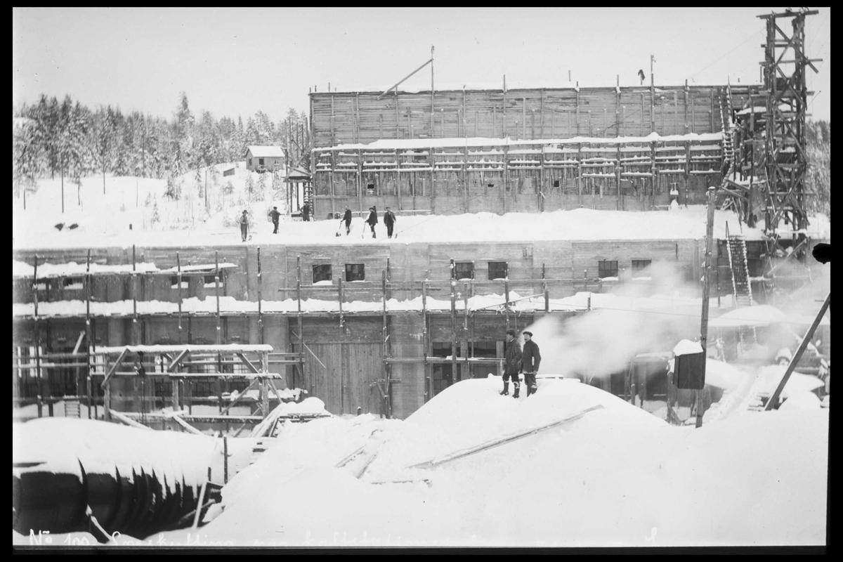 Arendal Fossekompani i begynnelsen av 1900-tallet CD merket 0470, Bilde: 18 Sted: Bøylefoss Beskrivelse: Kraftstasjon under bygging