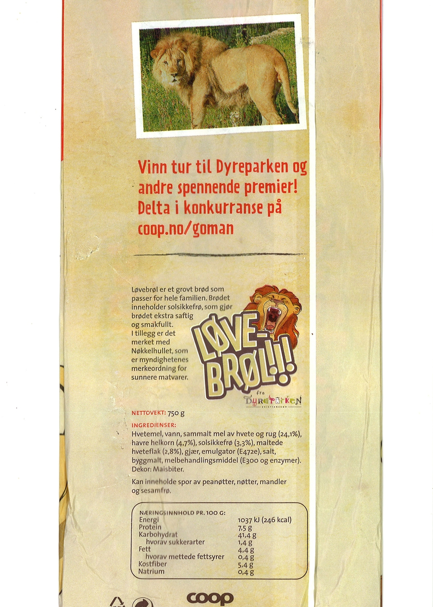 Motivet på brødposens forside er en tegnet løvehann som leker med to løveunger. De to små krapper opp på løvehannen. Øverst i høyre hjørne er et tegnet hode av en løvehann som brøler med åpen kjeft. På baksiden er et fargefotografi av en løvehann og et tegnet hode av en løvehann som brøler med åpen kjeft. Logoen til Dyreparken i Kristiansand er både for for- og bakside av brødposen.