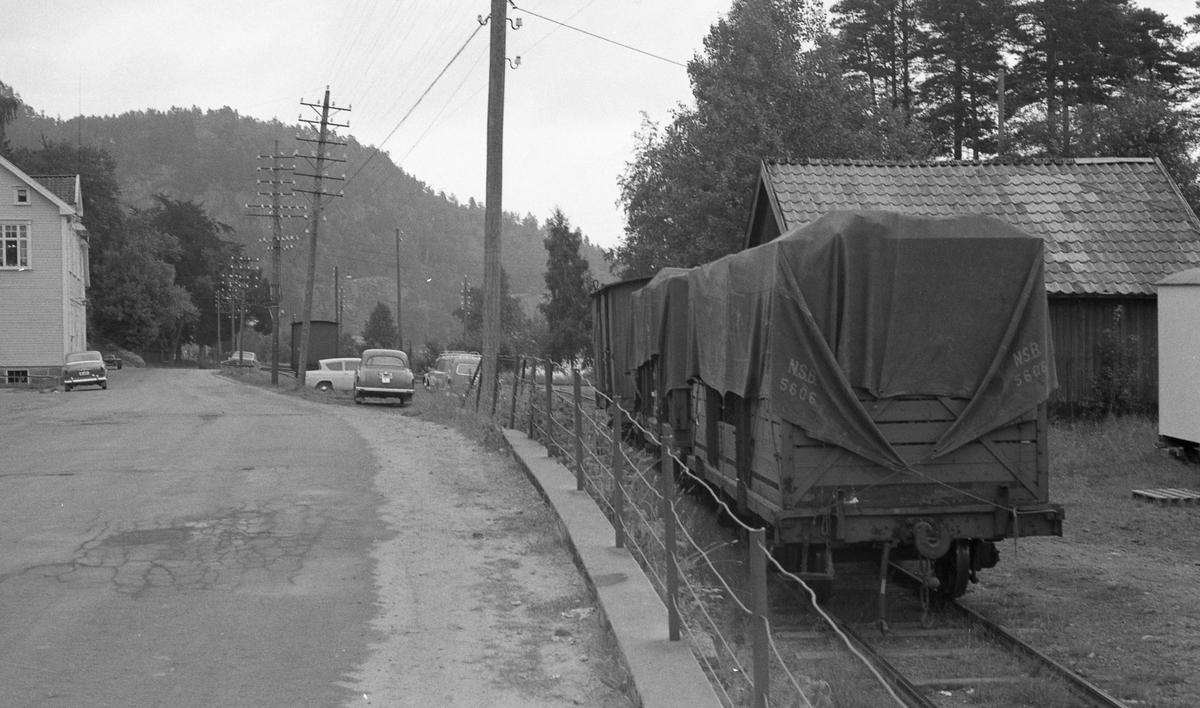 """Lastede godsvogner med løftekasser på """"Mandalsporet"""" ved Hægeland stasjon."""