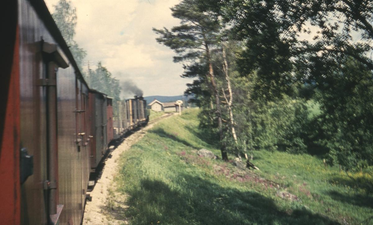 Utsikt fra kupevinduet i tog 2058 til Sørumsand som kjører inn på Hornåseng stasjon.