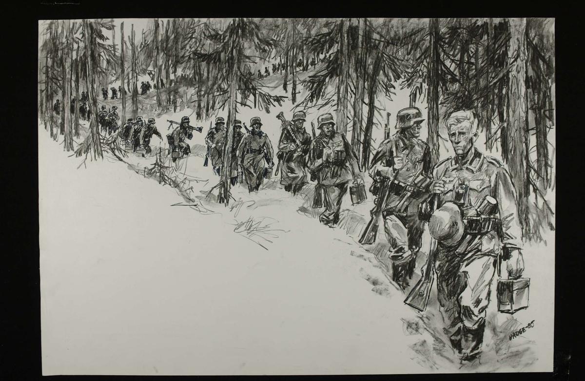 Etter ni timers marsj, vender tyskerne tilbake til Bagnsbergene etter å ha støtt på nordmenn som stoppet deres tilbaketrekning ved Breidablikk 21. april. Kampene i Norge 1940, bind 1, side 160.